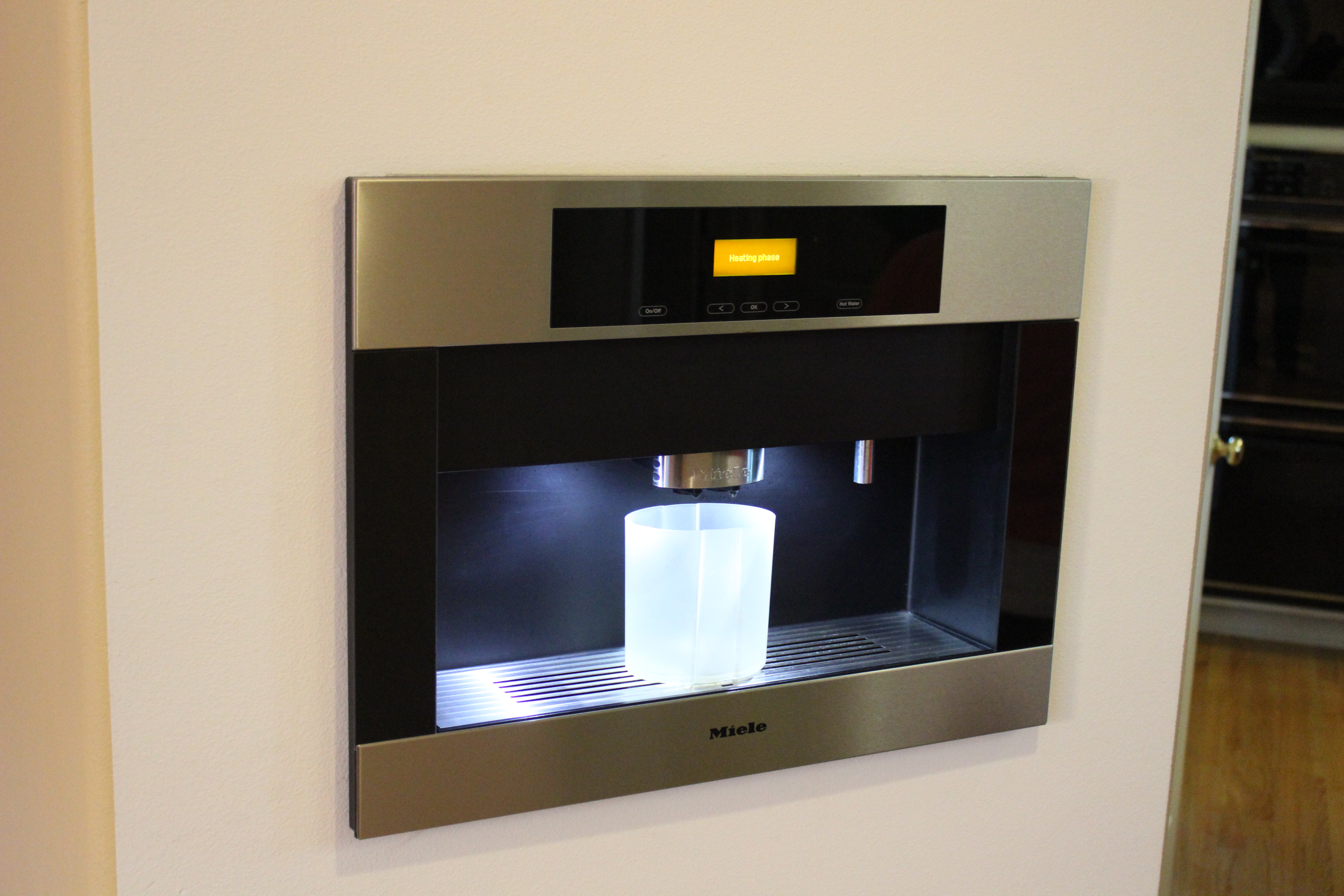 hans miele krug plumbing in coffee system pureline appliances cts built plumbed product maker