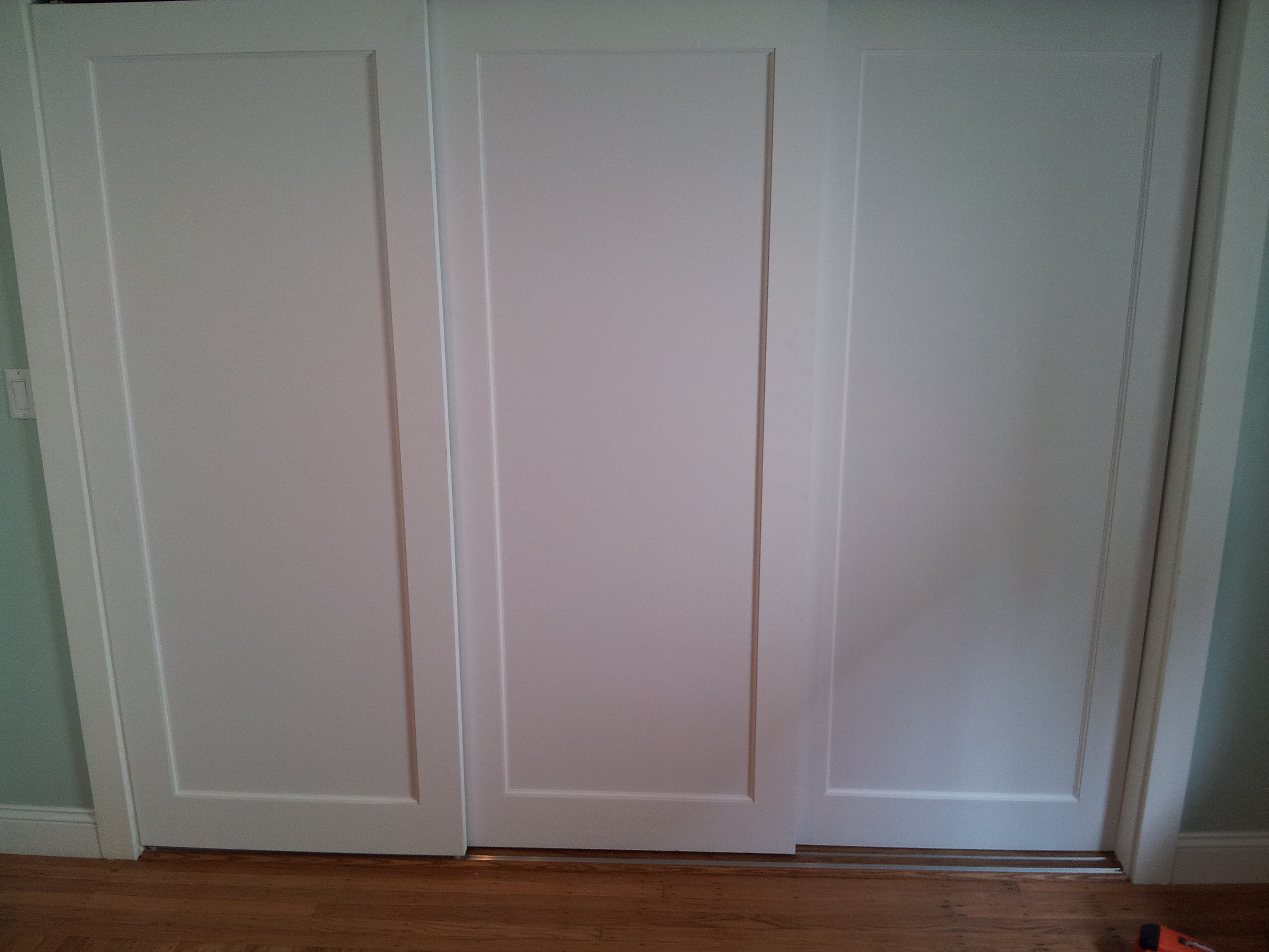 3 panel sliding closet doors - Installed 3 Panel Doors On Custom Sliding Track For Extra Wide Closet