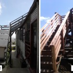 Before & After: Demolished dangerous stairs to roof unit and oversaw rebuilding of stairs (dealing with city permit office, CAL OSHA, architect, engineer and specialized construction crew)