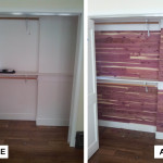 Before & After: Installed natural cedar closet liner planks in closet.