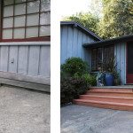 Before & After: Tore out old, rotten front porch and rebuilt new redwood porch and planter box to match original.