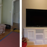 Before & After: Ripped out unused fireplace and designed, built and installed custom TV cabinet with hidden A/V equipment. Also designed, built and installed additional cabinet and recessed light in unused alcove next to fireplace.
