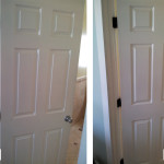 Before & After: Switched out dated brass hinges and simple knobs for oil rubbed bronze hinges and back plated oil rubbed bronze knobs.