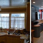 Before & After: client wanted an affordable kitchen face lift so we worked as color consultants to select the right shades of blue and rust, installed new recessed lights, installed new pendant, repaired and installed new cabinet doors and oversaw painting crew