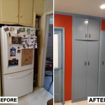 Before & After: client wanted to move their fridge to the other side of the kitchen so we re-purposed the alcove into a brand new pantry with doors that matched the rest of their kitchen cabinets.