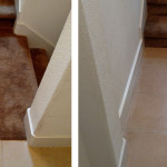 Before & After: ripped out carpet on a client's landing and replaced it with matching tile from the adjacent room