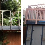 Before & After: Built new deck railing to provide adequate safety for 2nd story deck.