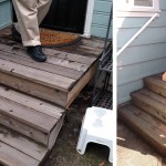 Before & After: we installed a railing on these backyard steps for safety.