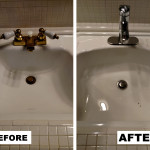 Before & After: Replaced  sink faucet for client to suit their change in taste.