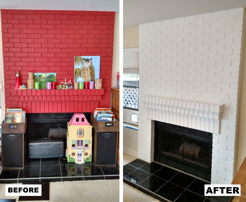 Before & After: Repainted fireplace to suit client's change in taste.