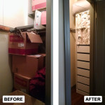 Before & After: Designed, installed and organized new storage system for guest closet.