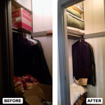 Before & After: Designed, installed and organized new storage system for guest room closet.