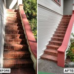 Before & After: a client had peeling paint and minor dry rot on a wooden exterior stair railing so we sanded it down, repaired the damage and gave it a new coat of paint.