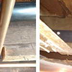 Before & After: a joist had been damaged so we installed new hardware to repair and strengthen the joist.