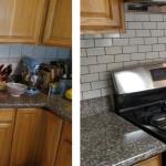 Before & After: We removed the old backsplash and installed a new subway tile backsplash.