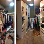 Before & After: Designed, installed and organized new storage system for master bedroom closet.