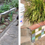 Before & After: tile mosaic on client's garden wall
