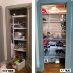 Before & After: Designed, installed and organized new storage system for office closet.