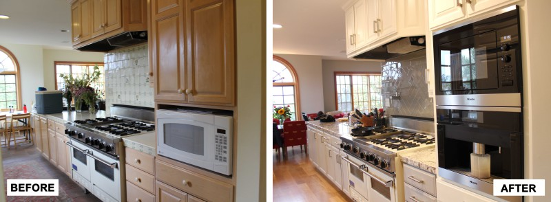 Before & After: completed demo and worked with client to select wall colors, kitchen cabinet colors, granite, backsplash tile and pattern and oversaw painting, tile and hardwood floor crew over the course of remodel.