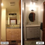 Before & After: completed demo and worked with client to select wall color, cabinet color,, counter top, sink and faucet, tile pattern and tile, and new lighting. Oversaw tile, counter and paint crew.
