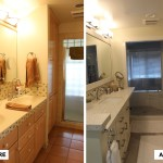 Before & After: completed demo and worked with client to redesign space to make it feel more open, and select wall color, cabinet color, counter top material, tile, and lighting and oversaw tile, painting and glass shower enclosure crew.