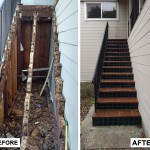 Before & After: client had stairs that were suffering from water damage, so we ripped out the stairs, repaired the structure and oversaw a tile crew install new tile risers and runners to ensure no more water damage.