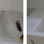 Before & After: Removed old, molded caulking and re-caulked transition between sink and tile counter.