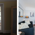 Before & After: Chose interior paint colors and lighting fixtures and oversaw painting crew and stager in preparation of unit being put on the market.