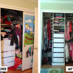 Before & After: Designed, installed and organized new closet system for young girl's closet.