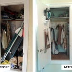 Before & After: Designed, installed and organized new closet system for front door closet.