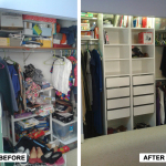 Before & After: Designed, installed and organized closet system for clothing and home items.
