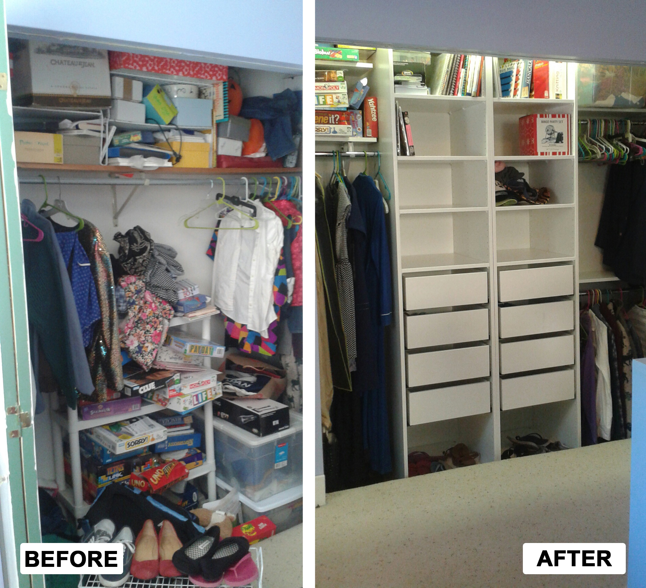 Before U0026 After: Designed, Installed And Organized Closet System For  Clothing And Home Items