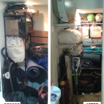 Before & After: designed, installed and organized closet system for awkward L-shaped closet.