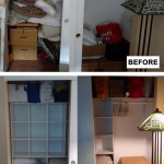 Before & After: client wanted her guest room closet reorganized to make room for her yarn collection. We were able to able to design a space that allowed everything to stay in the closet and make room for all her art supplies as well.