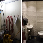 Before & After: Designed remodel for transformation of janitor's closet to bathroom at local restaurant. Assisted in construction along the way (framing, electrical, paint, finishes).