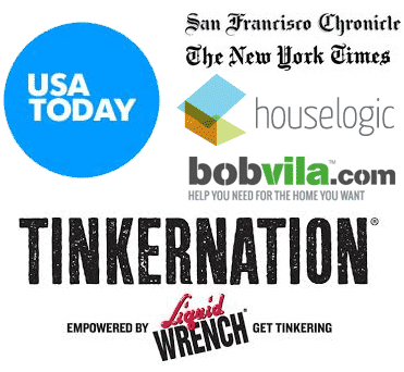 Featured media: San Francisco Chronicle, USA Today, New York Times, bobvila.com, tinkernation, houselogic