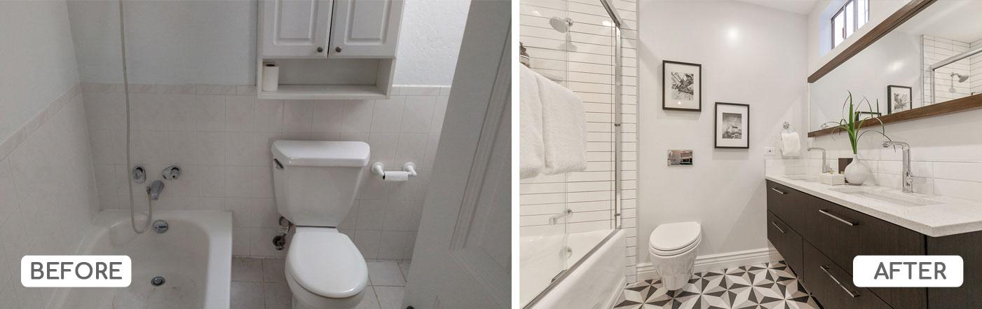 Bathroom renovation with subway tile