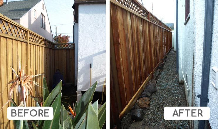 Fence project side of house with french drain