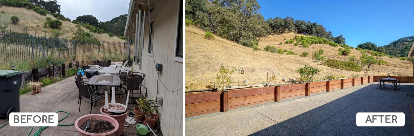 Removed fence and rebuilt retaining wall