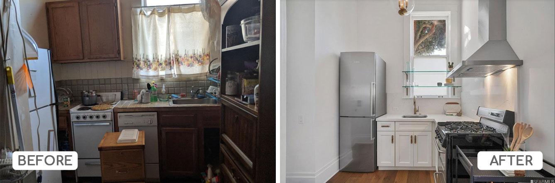 Studio apartment kitchen renovation